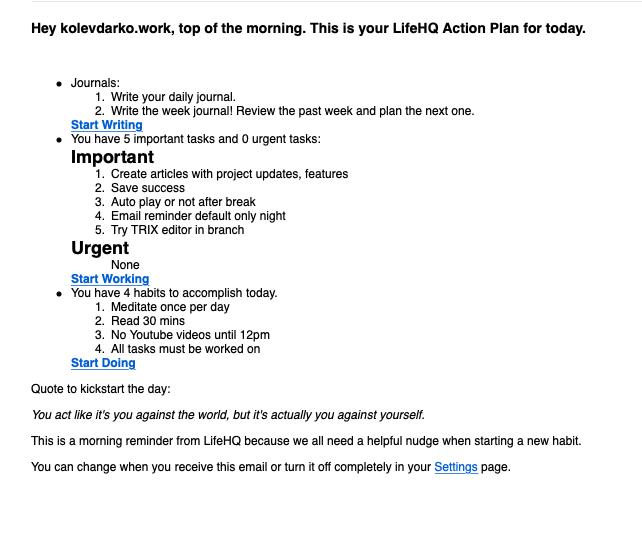 LifeHQ Roadmap Update #2
